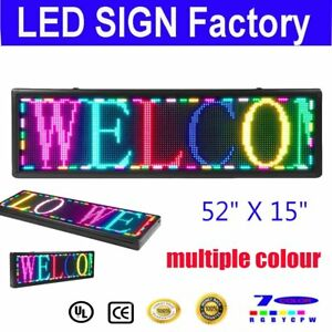 Led Sign 52 x15 Multiple Color Programmable Scrolling Message Board Open Neon