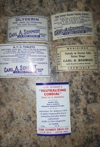 Pharmacy Apothecary Medicine Bottle Labels Carl A Schmidt Dayton