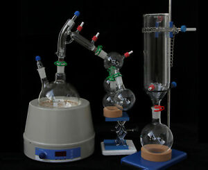 Glass Short Path Distillation Kit With Cold Trap And Magnetic Heating Mantle