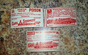 Lot Of Three Pharmacy Apothecary Medicine Bottle Labels Carl A Schmidt Dayton