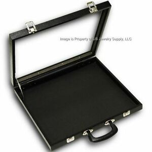 2 Glass Top Black 40 Space Display Box Organizer Case Lighters Pins Medals