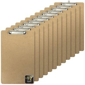 Officemate Recycled Legal Size Wood Clipboard Low Profile Clip 12 Pack