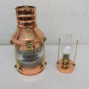 Anchor Maritime Copper Hanging Oil Lantern Lamp W Wind Proof Case Fast Shipping