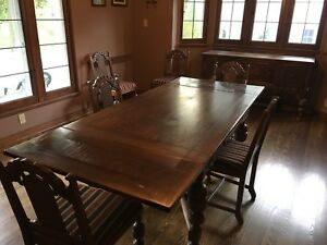 Jacobean Style Dining Room Set Table 6 Reupholstered Chairs Buffet