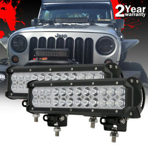 2x 12inch Led Work Light Bars Spot Flood Combo Backup Bumper Driving Fog Lamp