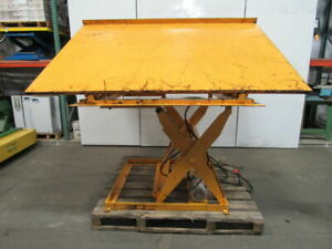 Econo Lift 3000lb Scissor Lift 26 Tilt dump Table 100x72 12 3 8 To 47 3 8