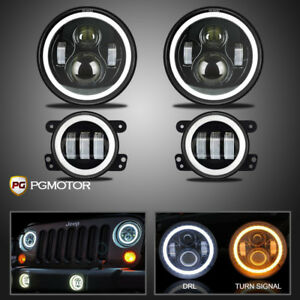 7inch Round Led Headlights 2x4 Halo Fog Lights For 2007 2018 Jeep Jk Jku Willy