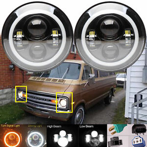 For Pb100 Pb200 Pb300 Van Gran Fury Pickup Led Headlight Halo Angle Eye Drl Lamp