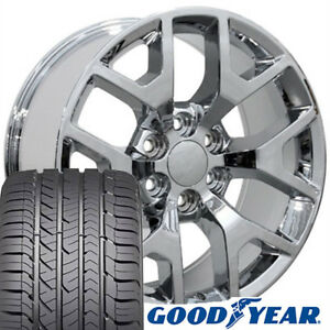 22 Rims Tires Fit Gm Chevy Sierra Silverado Chrome Wheels Gy Tires 5656