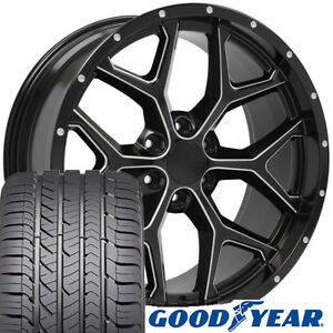 22 Rims Tires Fit Gm Chevy Sierra Silverado Dd Milled Satin Black Gy 5668