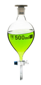500ml Separating Funnel Pear Shaped Borosilicate Glass Glass Stopcock Eisco