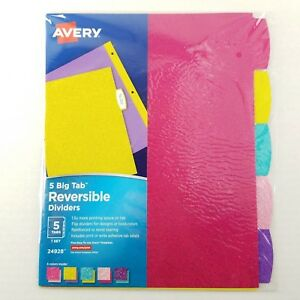 Lot Of Nine 9 Avery Big Tab Reversible Dividers 5 Tabs Assorted Glitter Colors