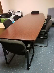 On Sale Large Conference Table To Seat 8 With 6 Black Cloth And Metal Chairs