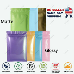Multi size Glossy Matte Foil Mylar Double sided Colored Flat Zip Lock Bag Sm02