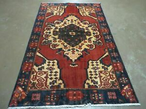 4 X 7 Antique 1920 Hand Made Persian Kurd Bidjar Bijar Wool Rug Veg Dye Nice