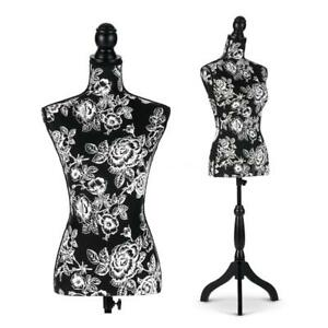 Female Mannequin Dress Form Torso Dressmaker With Wood Stand Display Black X4s5