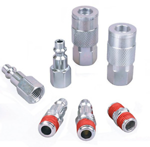 Air Tool Coupler And Plug Kit 1 4 Npt Fittings Industrial Type I M 7 Piece