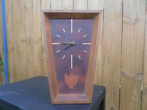 Vintage German Wall Clock Leather And Wood