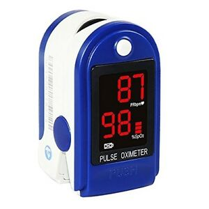 Concord Basics Finger Pulse Oximeter Blue With Carrying Case Lanyard And
