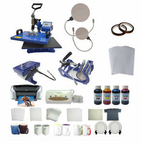 5in1 Sublimation Heat Press Printer Ink Ciss Mug Plate Hat Transfer T shirt Kit
