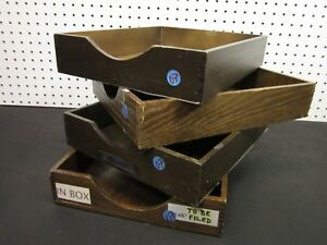 Lot 4 Vintage Wood Desk Organizer Tray Dovetail Wood Office In Out Box Letter 07