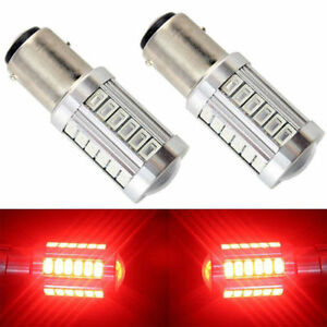 2x Red 1157 Bay15d 33smd 5730 Led Turn Signal Tail Brake Stop Reverse Light Bulb
