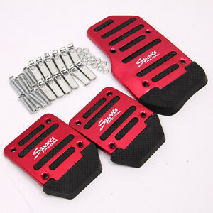 3pc Car Pedals Red Black Manual Durable Non Slip Foot Pedals Cover For Honda Bmw