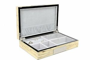Exqusite High Glossy Cufflink Case Ring Storage Organizer Men s Jewelry Box