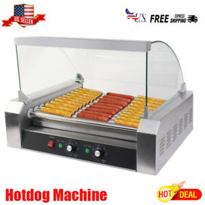 New Commercial 30 Hot Dog 11 Roller Grill Cooker Machine W Cover Ce Silver