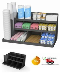 14 Compartment 3 Tier Large Breakroom Coffee Condiment Organizer Black