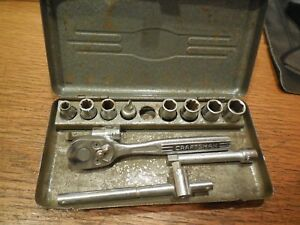 Vintage Craftsman 1 4 Drive Ratchet Socket Set With Original Metal Case