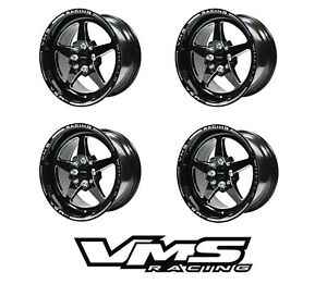 15x8 Vms Racing 5 Spoke Black Polished Drag Rims Wheels 4x100 4x114 Et20 X4