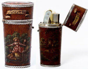 Antique French Necessaire Vernis Martin Etui With All Implements French Silver
