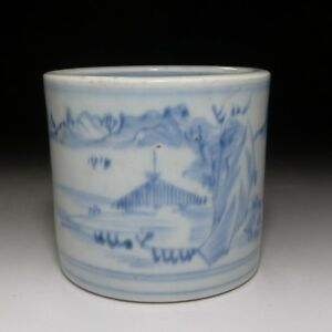 Japanese Imari Brush Pot Blue White Landscape C 1850