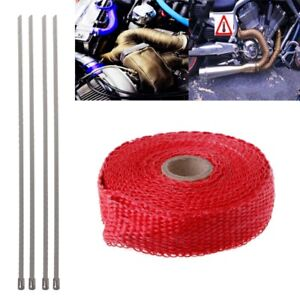 5m Red Motorcycle Turbo Manifold Heat Exhaust Wrap Tape Thermal Stainless Tie