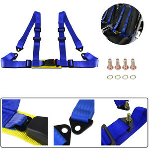 1x Universal 4 Point Car Auto Buckle Racing Seat Belt Harness Adjustable Blue