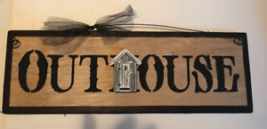 Outhouse Country Bathroom Powder Room Primitive Bath Decor Wooden Wall Sign 4x12