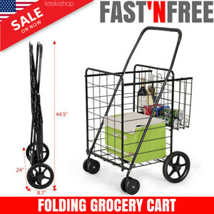 Folding Shopping Cart Grocery Laundry Basket Rolling Wheels Travel Utility Stair