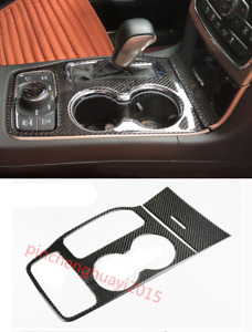 Carbon Fiber Water Cup Holder Panel Cover Trim For Jeep Grand Cherokee 16 18