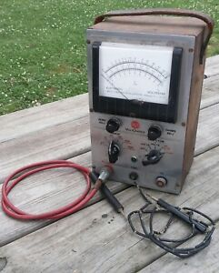 Vintage Rca Voltohmyst Type 195 a Electronic Voltmeter Ohm Meter W Orig Probes