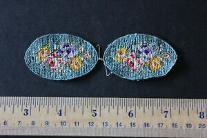 2 Tiny French Doll Scale Rose Hand Petit Point Blue Roses Mats C1910 1 1 2 Lx2 W