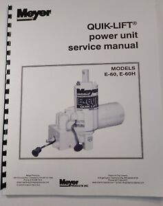 Meyer Snow Plow Pump Service Manual E60 E60 H Models Full Color Comb Bound
