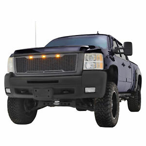 07 10 Chevy Silverado 2500 3500 Grill Grille W amber Led Gray Abs Raptor Style