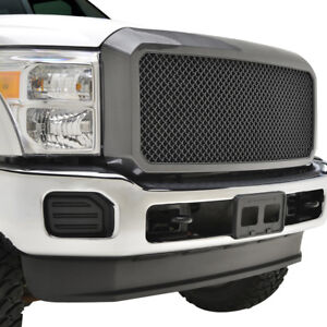 2011 2016 Ford Super Duty F250 f350 Mesh Grille Abs Shell Carbon Fiber Look