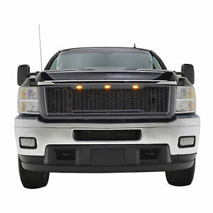 11 14 Chevy Silverado 2500 3500 Mesh Grille Raptor Style W Amber Led Light Gray