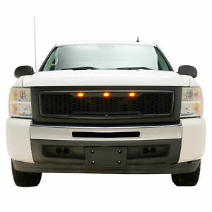 07 13 Chevy Silverado1500 Grille Black Honeycomb With Led Lights Raptor Style