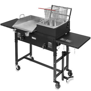 Commercial Restaurant Gas Grill W 2 Deep Fryer Heavy Duty Countertop Grill Food