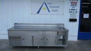 Stainless Steel Work Table W cabinets Sink Drawer 3174