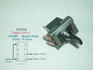 Vintage Lucas 34483 Toggle Switch Model 57sa