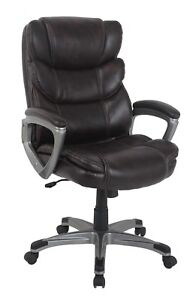 Pu Leather High Back Office Chair Ergonomic Computer Chair Double Brown